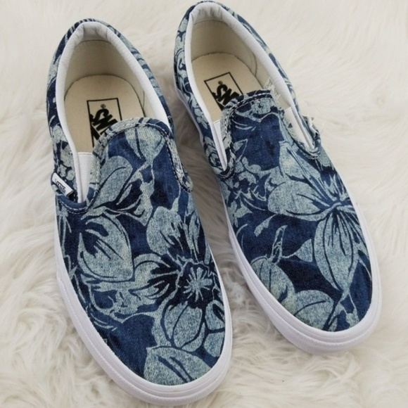 938821db57 Vans Classic Slip On Denim Floral Blue M 8.5 W 10